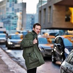 "Michael Fassbender on the set of ""The Snowman"" upcoming 2017 film"