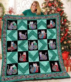 Fabric Panel Quilts, Fabric Panels, Fabric Material, Quilt Patterns, Stitch Patterns, Cat Quilt, Quilt Bedding, Quilt Blocks, Vibrant Colors