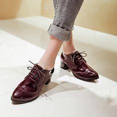 Calçados Femininos - Oxfords - Conforto / Bico Fino - Salto Grosso - Preto / Branco / Vinho - Courino -Escritório & Trabalho / Social / de 2016 por R$161,12