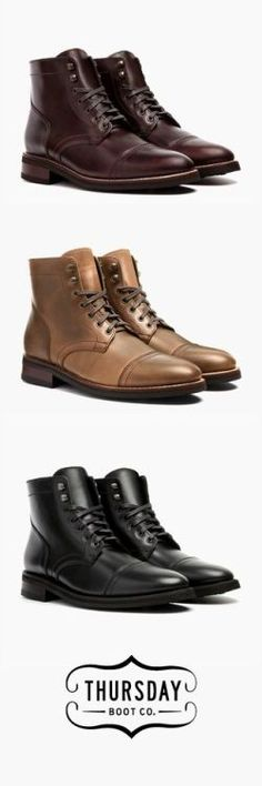 Sophisticated with an edge. This minimalist cap-toe features a carefully designed stitch over the toe to add style while letting the quality of the materials do most of the talking. Prom Shoes, Dress Shoes, Men Dress, Fashion Boots, Mens Fashion, Ladies Fashion, Casual Shoes, Men Casual, Style Masculin