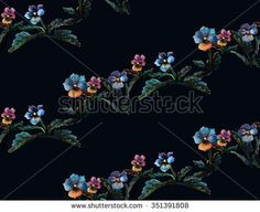 Seamless floral pattern made from pastel drawing. High quality raster texture with colorful fantasy viola flowers, leaves and stems. Elements arranged in diagonal lines on black background.