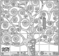 Autour d'un travail sur Klimt. Chaque élève a un morceau du puzzle voire deux. Il le reproduise sur un carré plus grand. On assemble le tout et on voit ce que ça donne. Puis on découvre l'oeuvre de d
