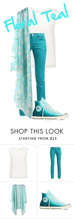 """Floral Teal"" by avalienho on Polyvore featuring Finders Keepers, Converse, casual, floral and blessed"