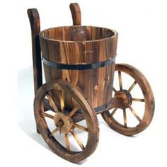 wood barrel... on wheels