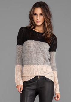 10 CROSBY DEREK LAM Crew Neck Sweater in Grey/Nude/Black - New