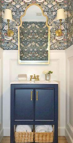 Powder Room Decor, Powder Room Design, Rustic Powder Room, Powder Room Wallpaper, Of Wallpaper, Beautiful Bathrooms, White Bathrooms, Luxury Bathrooms, Master Bathrooms