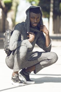 Grey Hooded Onsie Paired With ASIF Shoes By Thread Haus Brand Sold At The Gents  Closet