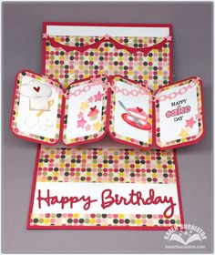 Karen Burniston using the Pop it Ups Twist Circle, Happy Birthday, Props 7 and 8, Ring Frame Edges and clear stamps by Karen Burniston for Elizabeth Craft Designs.