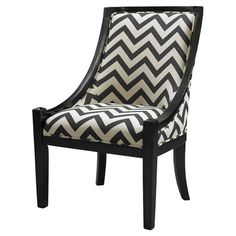 Create a reading nook in your office with this hardwood accent chair, featuring black-finished legs and a chic chevron motif.  Product: