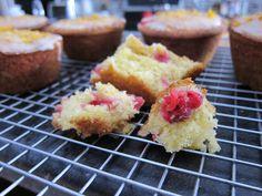 Honey, cranberry, lemon & olive oil muffins with lemon glaze