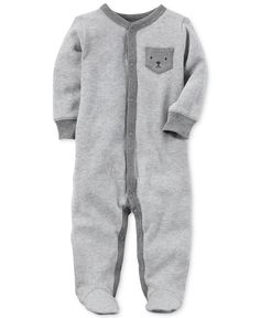 Carter's Bear-Pocket Thermal Footed Cotton Coverall, Baby Boys (0-24 months)