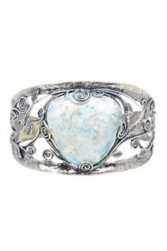 Sterling Silver Roman Glass Cuff Bracelet - Multiple Lengths Available