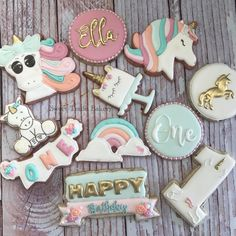 Unicorn birthday cookies. First birthday. Check out Facebook page. Made by Sweet Trade Bakery
