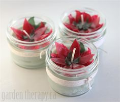 Poinsettia Beeswax Candles