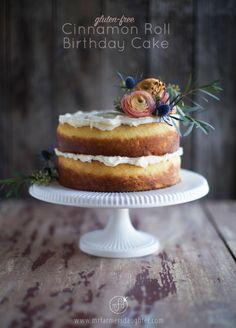 Cinnamon Roll Birthday Cake, gluten-free! - Mr. Farmer's Daughter