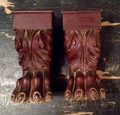 "Antique salvaged claw feet. 4.5""w x 9.5""h x 4.5""d SOLD"
