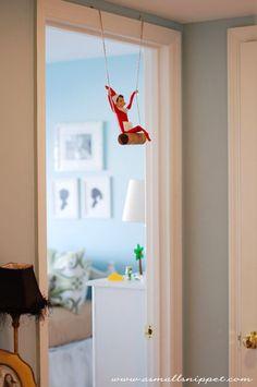 Funny ideas for Elf on the Shelf: swinging around