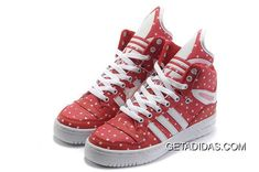3a0ec64fac80 Adidas Jeremy Scott Limit Top Quality Famous Brand Sneaker Metro Attitude  Hi Red Polka Dot Tongue Shoes TopDeals