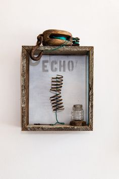 Echo Mixed Media Found Object Assemblage Artwork. Love the colors and look of this - incorporate it with a print, or build up on or around the print with obejcts