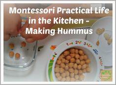 Montessori Practical Life in the Kitchen - Making Hummus via Montessori nature blog