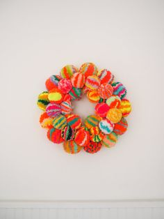 Large Pom Pom Wreath by FatPomPoms on Etsy
