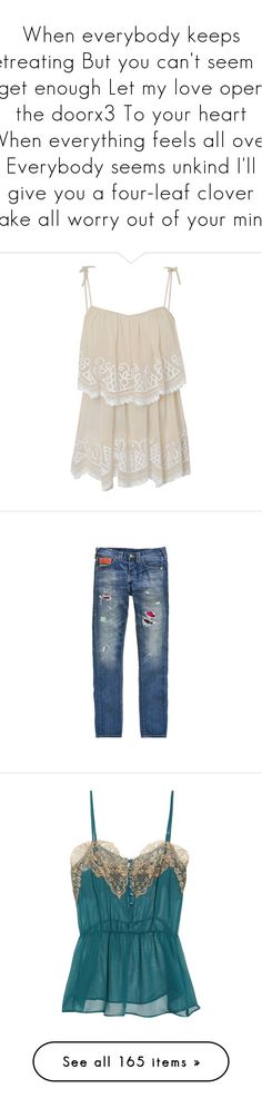 """""""When everybody keeps retreating But you can't seem to get enough Let my love open the doorx3 To your heart When everything feels all over Everybody seems unkind I'll give you a four-leaf clover Take all worry out of your mind"""" by cassidyolney ❤ liked on Polyvore featuring tops, shirts, tank tops, tanks, woven shirts, spaghetti-strap tank tops, pink tank top, pink shirt, tie shirt and intimates"""