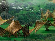 re:construct design competition: Ming Trang's concept for a folding bamboo house using renewable materials, sustainable architecture, design for disaster, green building, and recycled materials. Architecture Durable, Architecture Design, Bamboo Architecture, Futuristic Architecture, Sustainable Architecture, Sustainable Design, Conceptual Architecture, Folding House, Bamboo Structure