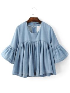 Online shopping for Blue Bell Sleeve Ruffle Denim Doll Blouse from a great selection of women's fashion clothing & more at MakeMeChic. Blouse En Jean, Denim Blouse, Blue Blouse, Denim Shirts, Loose Shirts, Denim Top, Blue Denim, Cute Blouses, Blouses For Women