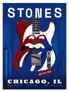Rolling Stones 2019 No Filter Blues Chicago Lithograph Poster. Purchased at Rolling Stones night in Chicago at Soldier Field on Rolling Stones Logo, Rolling Stones Blues, Chicago Poster, Chicago Tours, Tour Posters, Band Posters, Elevator Music, Vintage Concert Posters, Keith Richards