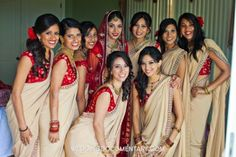 Northern California Indian Wedding by Wedding Documentary Photo + Cinema champagne and red bridesmaids sarees Indian Bridesmaid Dresses, Bridesmaid Saree, Red Bridesmaids, Bridesmaid Outfit, Indian Dresses, Indian Outfits, Indian Clothes, Indian Wedding Bridesmaids, Bridesmaid Ideas
