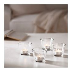 IKEA - GALEJ, Tealight holder for our sweetheart table Glass Tealight Candle Holders, Glass Tea Light Holders, Candle Holder Set, Glass Candle, Ikea Tea Lights, Ikea Candles, Recycling Facility, Decoration Table, Table Centerpieces
