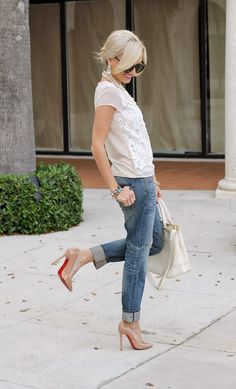 A Spoonful of Style: Lacey Top, Pearls, Glasses, Heels, Jeans : Love the all dolled up style. #womensfashion