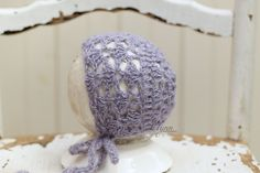 Baby girl clothes,Crochet baby hat,Photo prop,Baby shower gift,Newborn bonnet,Lavender bonnet,Going home hat,Newborn prop - pinned by pin4etsy.com
