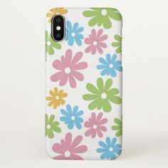 Cute Retro Summer Colors Flower Pattern iPhone X Case - stylish gifts unique cool diy customize