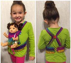 Crochet Baby Girl The Larsen Daily: Crochet baby carrier pattern **FREE** Baby Doll Clothes, Crochet Doll Clothes, Crochet Dolls, Baby Dolls, Baby Blanket Crochet, Crochet Baby, Crochet Gifts, Baby Doll Carrier, Crochet For Kids