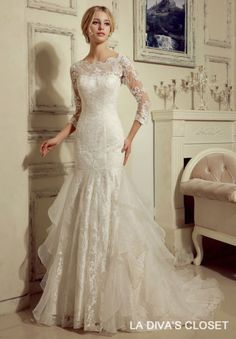 FORMAL-MODEST-LACE-WEDDING-DRESS-WITH-3-4-LACE-SLEEVES