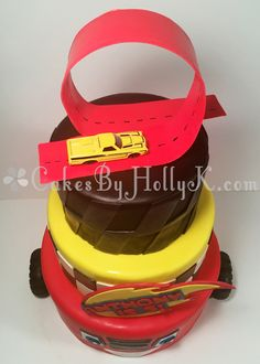 Three Tier Blaze and The Monster Machines Cake with Racetrack Topper - Cakes By HollyK Blaze Cakes, Blaze And The Monster Machines Cake, Ideas Para Fiestas, Custom Cakes, Cake Toppers, Wedding Cakes, Party, Crafts, Ideas Party