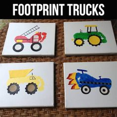 Footprint Trucks...a fun craft / art project for the kids to make!