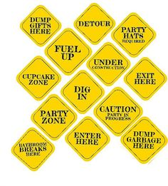 INSTANT 8x8 CONSTRUCTION Party Decor Signs by TwoLaughingLambs