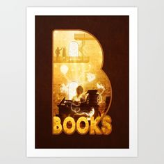B for Books, by Diogo Veríssimo #dverissimo #illustration #digitalart #fantasy #dream #boy kid #children #bright #gold #books #booklover #bookworm #type #text #typography #alphabet #library #reading #story #surreal #monster #scenic #adventure #silhouette #childhood #magic #magical