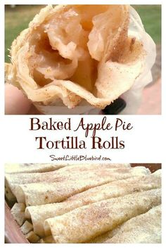 BAKED APPLE PIE TORTILLA ROLLS - aka, APPLE PIE ROLL UPS - A fun, tasty twist on apple pie, that's a cinch to make, so darn good. This is a quick and easy dessert the whole family will love! #Apple #Pie #Rollups #Tortillas #ApplePieRollUps #Autumn #Fall #Dessert #Recipe #SweetLittleBluebird Apple Desserts, Apple Recipes, Just Desserts, Sweet Recipes, Delicious Desserts, Yummy Food, Mexican Food Recipes, Dessert Recipes, Gula