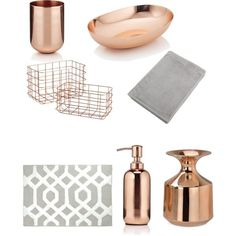 Dream bathroom ... Theme: copper and grey, hints of white by varshnaab on Polyvore featuring polyvore, interior, interiors, interior design, home, home decor, interior decorating, HUGO, M&S and Andrea House