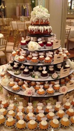 Bundt Cake with Bundtinis Wedding Cake Tower! Created by Nothing Bundt Cake Huntersville NC