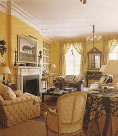 English drawing room...Never happen here but I love the colors and the lack of matchy matchy....
