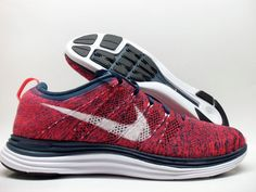newest 3fc9e a9f1b NIKE FLYKNIT LUNAR 1 RACER SQUADRON BLUE CRIMSON RED WHITE BLACK