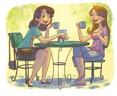 Friends by Sabinerich on DeviantArt Sister Pictures, Friend Pictures, Friends Illustration, Best Friend Drawings, Friend Cartoon, Coffee With Friends, Coffee Girl, Tea Art, Friends Tv