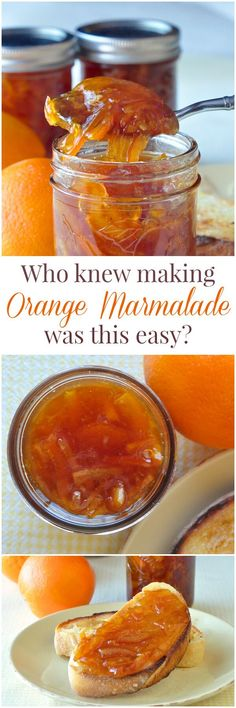 Orange Marmalade - who knew making marmalade was this easy? This version adds a little natural vanilla flavour in what might me the best marmalade you'll ever try. Ideal for Christmas gift giving season. Jelly Recipes, Jam Recipes, Canning Recipes, Dessert Recipes, Desserts, Making Marmalade, Marmalade Jam, Salsa Dulce, Jam And Jelly