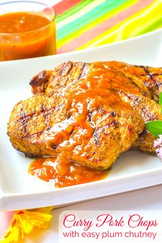 Curry Pork Chops with Easy Plum Chutney. Forget boring dinners! Whether grilled, broiled or pan fried, an easy plum chutney brings plenty of flavour to these fragrantly spiced succulent pork chops. Curry Pork Chops, Fried Pork Chops, Jamaican Recipes, Pork Recipes, Cooking Recipes, Cooking Ideas, Curry Dishes, Pork Dishes, Dinner Entrees
