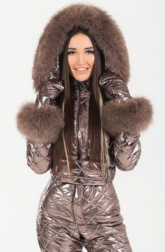 Snow Fashion, Fur Fashion, Womens Fashion, Down Suit, Winter Suit, Athletic Wear, Cool Style, Leather Jacket, Ski Outfits