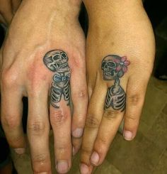 Sometimes the ring finger tattoos are also termed as wedding ring tattoos and is a contemporary fashion trend. These tattoo wedding rings and tattoo wedding bands signify togetherness in a unique way. Finger Tattoos, Knuckle Tattoos, Wedding Band Tattoo, Tattoo Band, Wedding Rings, Wedding Photos, Skeleton Tattoos, Tattoos Skull, Girly Tattoos
